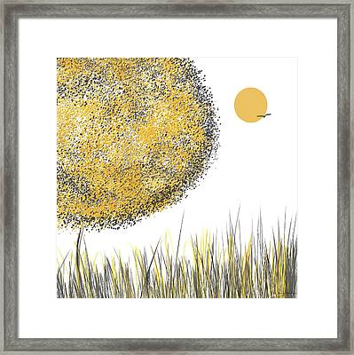Sunny Day - Yellow And Gray Tree Contemporary Art Framed Print by Lourry Legarde