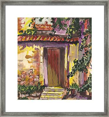 Framed Print featuring the digital art Sunny Doorway by Darren Cannell