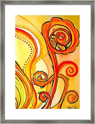 Framed Print featuring the painting Sunny Flower - Art By Dora Hathazi Mendes by Dora Hathazi Mendes