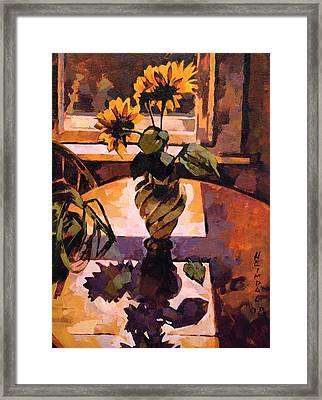 Sunny Flowers In Italian Vase Framed Print by Tim  Heimdal