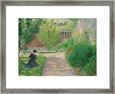 Sunny Garden Framed Print by August Macke