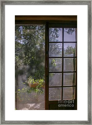 Sunny Garden With Door Framed Print