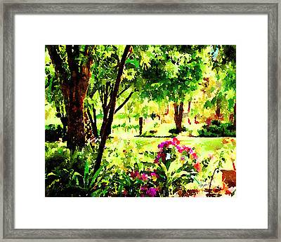 Framed Print featuring the painting Sunny Hangout by Angela Treat Lyon