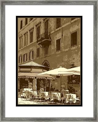 Sunny Italian Cafe - Sepia Framed Print by Carol Groenen