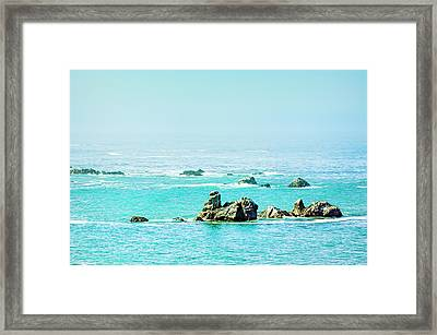 Sunny Pacific Ocean Oregon Coast Framed Print