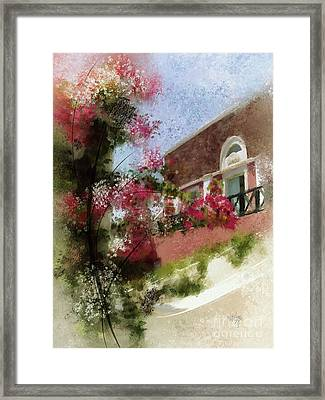 Sunny Santorini Framed Print