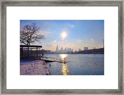 Sunny Schuylkill River In Winter Framed Print by Bill Cannon