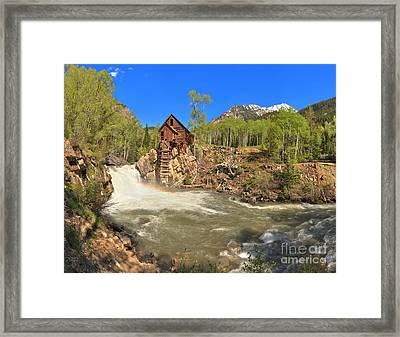 Sunny Skies Over The Crystal Mill Framed Print by Adam Jewell