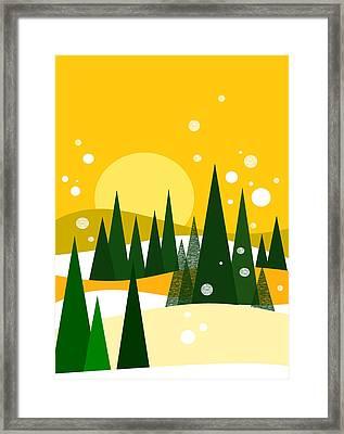 Sunny Snow Framed Print by Val Arie