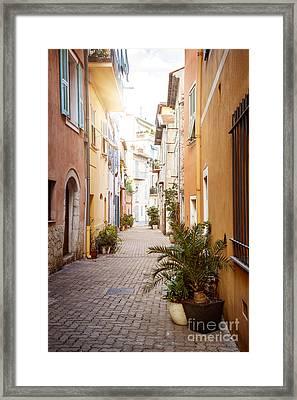 Sunny Street In Villefranche-sur-mer Framed Print by Elena Elisseeva
