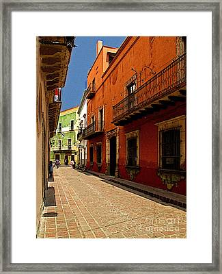 Sunny Street Framed Print by Mexicolors Art Photography