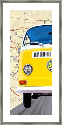 Sunny Yellow Vw Bus - Left Framed Print