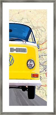 Sunny Yellow Vw Bus - Right Framed Print