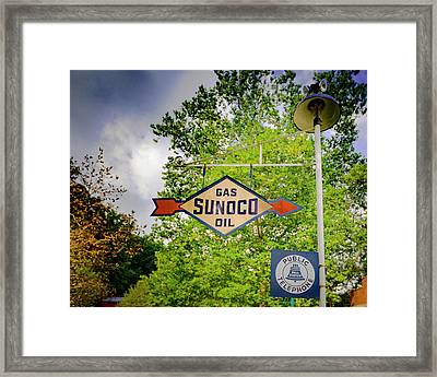 Sunoco Sign On Pole With Public Telephone Framed Print by Jack R Perry
