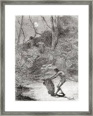 Sunos Indians Hunting Freshwater Framed Print