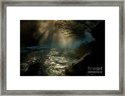 Sunrays At Fork River Framed Print by Iris Greenwell