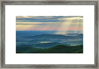 Framed Print featuring the photograph Sunrays Over The Blue Ridge Mountains by Lori Coleman