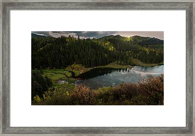 Sunrays Over The Lake Framed Print