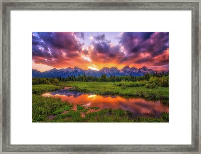 Sunrays Over The Tetons Framed Print