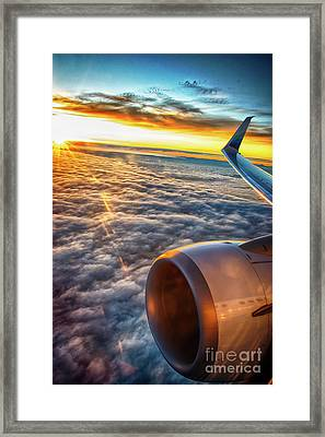 Sunrise 16787.5 Feet Over Clouds And Washingtonia Framed Print