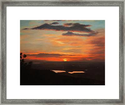 Sunrise Above Boulder Framed Print