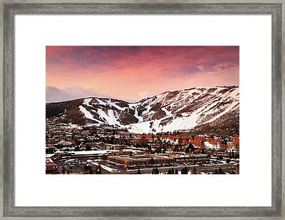 Framed Print featuring the photograph Sunrise Above Park City Mountain, Utah. by Johnny Adolphson