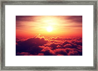 Sunrise Above The Clouds Framed Print
