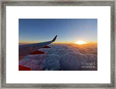 Sunrise Above The Clouds On Southwest Airlines Framed Print
