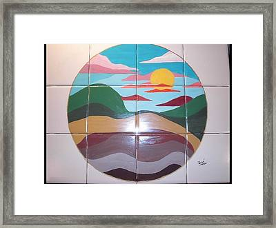 Framed Print featuring the ceramic art Sunrise Abstract On Tile by Hilda and Jose Garrancho