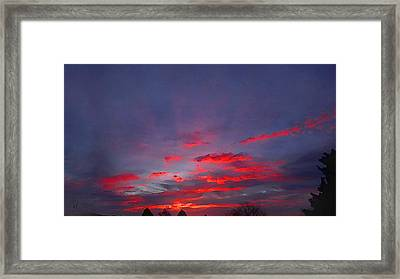 Sunrise Abstract, Red Oklahoma Morning Framed Print