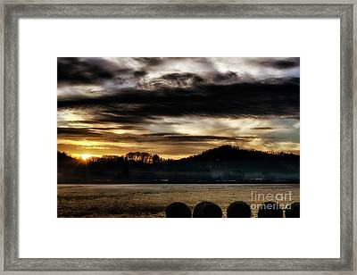 Framed Print featuring the photograph Sunrise And Hay Bales by Thomas R Fletcher