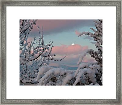 Sunrise And Moon-set Over Lake Boyd Framed Print