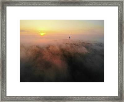 Framed Print featuring the photograph Sunrise And Morning Fog Warm Orange Light by Matthias Hauser