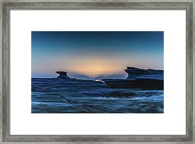 Sunrise And Rock Platform Landscape Framed Print