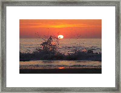 Sunrise And Splashes Framed Print