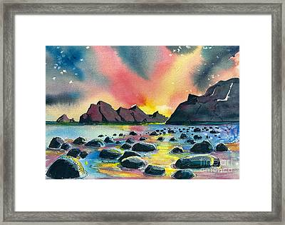 Sunrise And Water Framed Print