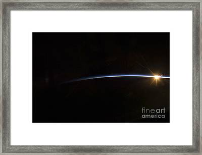 Sunrise As Viewed In Space Framed Print by Stocktrek Images