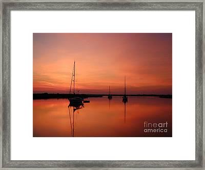 Sunrise At Anchor Framed Print by Judee Stalmack