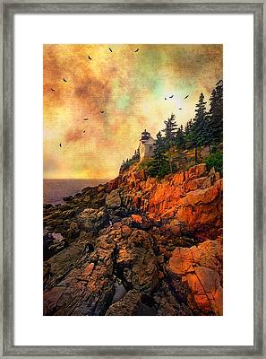 Sunrise At Bass Harbor Head Light - Acadia National Park - Maine Framed Print by Joann Vitali