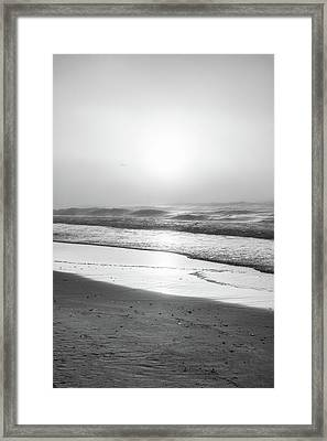 Framed Print featuring the photograph Sunrise At Beach Black And White  by John McGraw