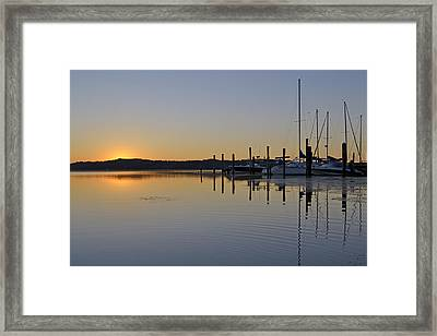 Sunrise At Belle Haven Marina In Alexandria Virginia Framed Print by Brendan Reals