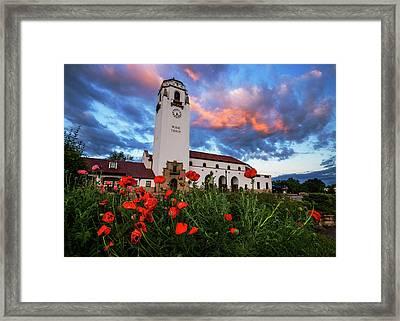 Sunrise At Boise Depot In Boise Idaho Usa Framed Print