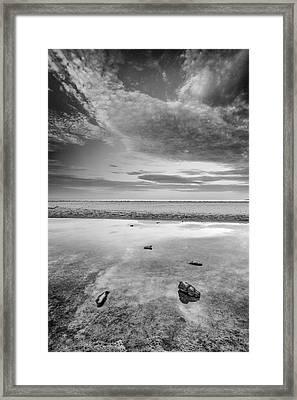 Sunrise At Bolonia Beach Bw Framed Print