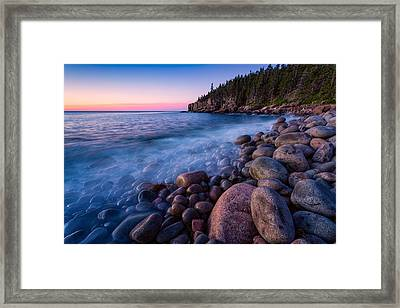 Sunrise At Boulder Beach Acadia Np Framed Print by Jeff Sinon