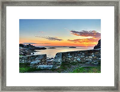 Sunrise At Castle Rock Marblehead Ma Framed Print