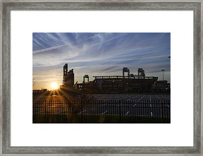 Sunrise At Citizens Bank Park - Philidelphia Framed Print by Bill Cannon