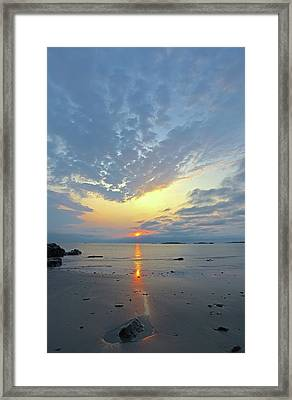 Framed Print featuring the photograph Sunrise At Cohasset Sandy Beach by Juergen Roth