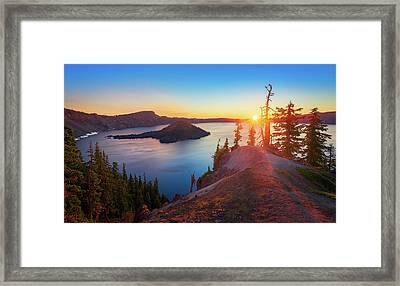 Sunrise At Crater Lake Framed Print