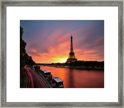 Sunrise At Eiffel Tower Framed Print