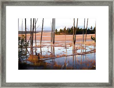 Sunrise At Fountain Paint Pots, Yellowstone National Park, Usa Framed Print